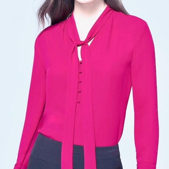ddce3895 White House Black Market Tops | Pink Tie Front Blouse | Poshmark